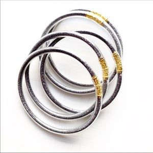 5 GRAY sand filling Clear jelly bangle bracelets